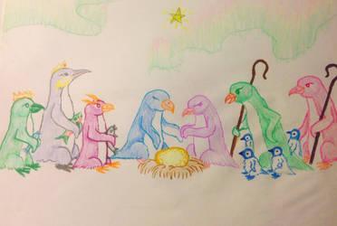 Penguin Nativity by GraceJediHeart