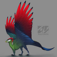 Dragon design: Red-crested turaco by AverrisVis