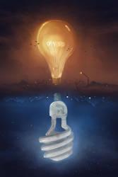 Sky Light Bulbs ( Surreal Sun and Moon Painting ) by ShootingStarLogBook