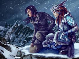 Lara Croft and Aloy by MaggieRoseStudio