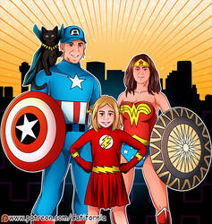 Family Portrait for Our friends as Superheroes by Catifornia