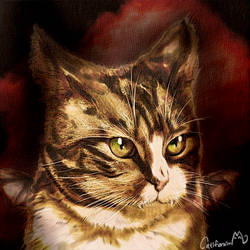 Halloween style Vampire Kitty Watercolor Portrait by Catifornia
