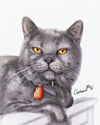 Watercolor Kitty Portrait for Our Cat friend Raven by Catifornia