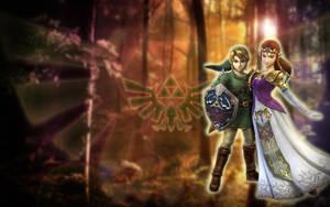 Link + Zelda - Wallpaper by Eressea-sama