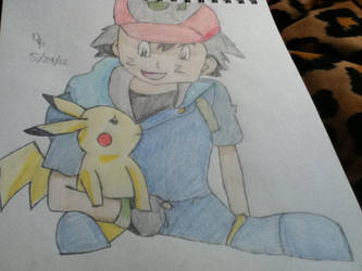 ash and pikachu by winterwolve