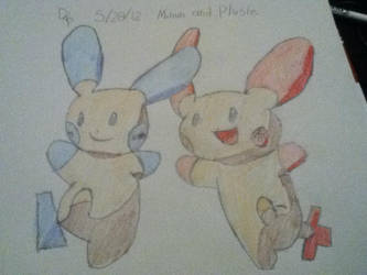 plusle and minun by winterwolve