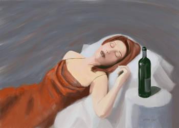 :: portrait :: woman with wine by tristanrocks