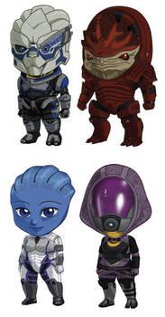 Mass Effect Sets 1+2: Garrus, Wrex, Liara, Tali by cosplayscramble