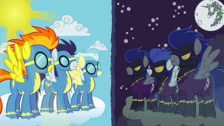 Wonderbolts vs. Shadowbolts by Capt-Nemo