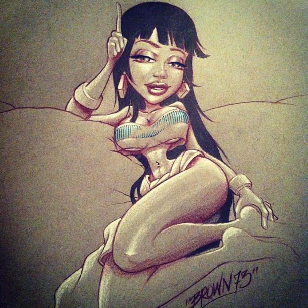 brown73 art lowrider girl by Maddengirl93