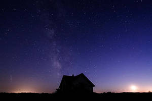 Meteor - Milky Way - Moon by FramedByNature