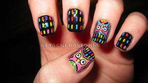 neon owl nails by xtheungodx