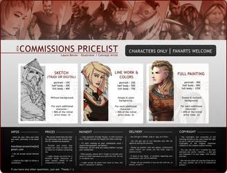 Commissions - Pricelist 2016 by LauraBevon