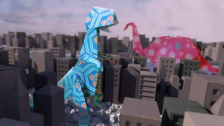 Origami Dinosaur by zackaryrabbit