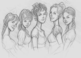 Pride and Prejudice Girls by DaveJorel