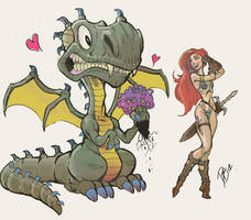 Red Sonja and The Dragon (1st Draft) by DaveJorel