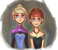 Frozen - Queen Elsa Coronation Portrait by DaveJorel