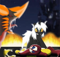 Godzilla Jr Bagan attack Blade dancer by mayozilla