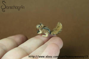Miniature Chipmunk Hand Flocked Head can rotate by Teensyweensybaby