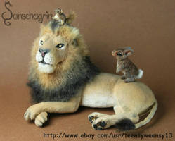 Ooak miniature Lion (Cecil)  with Friends by Teensyweensybaby