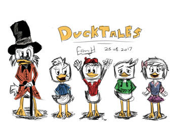 DuckTales 2017 Sketch (w/ colour) by EthanH23