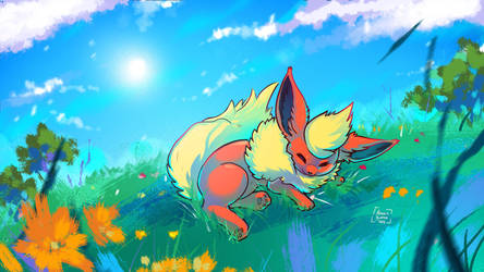 Sleeping Flareon by Kiaun