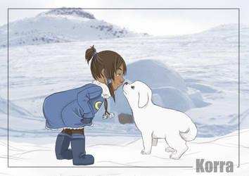 Korra and Naga by vinczu-evibee