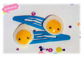 Kawaii Fried Eggs Hair Clips by arihoma