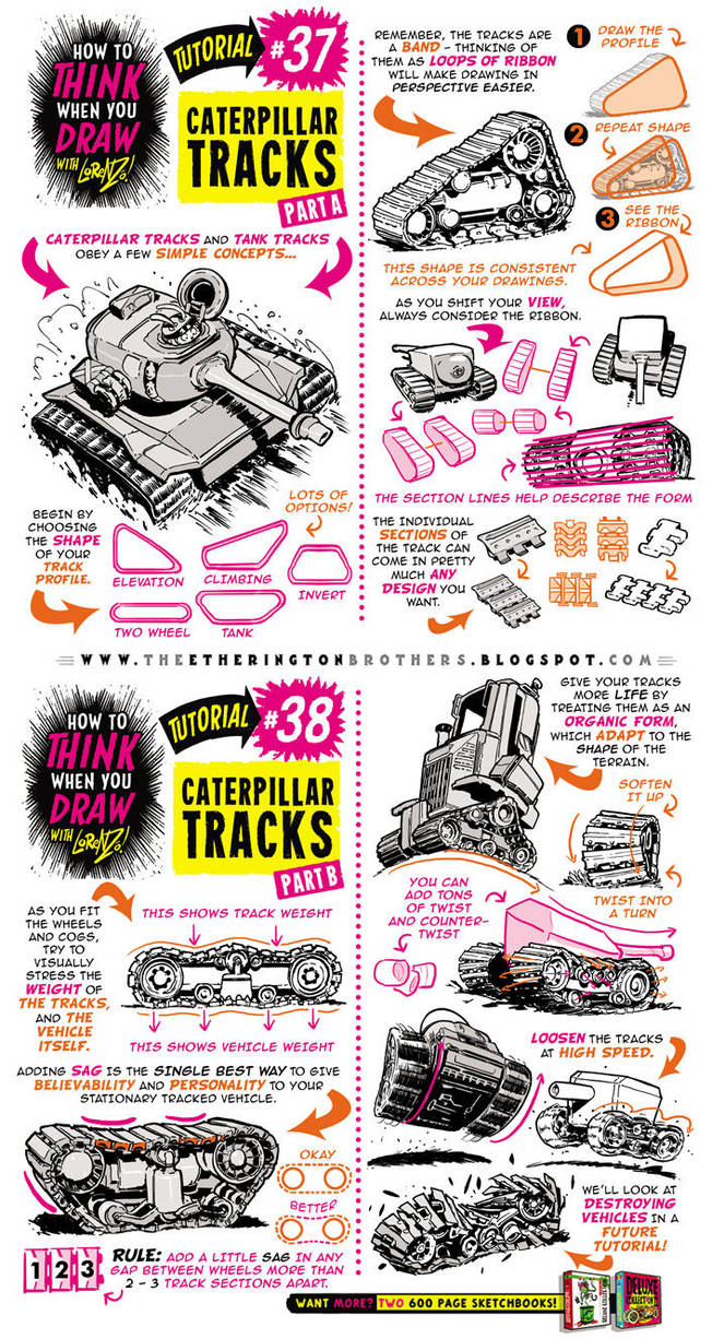 How to draw CATERPILLAR and TANK TRACKS tutorial by STUDIOBLINKTWICE