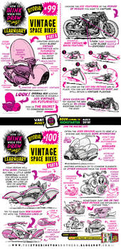 How to draw VINTAGE SPACE BIKES tutorial by STUDIOBLINKTWICE