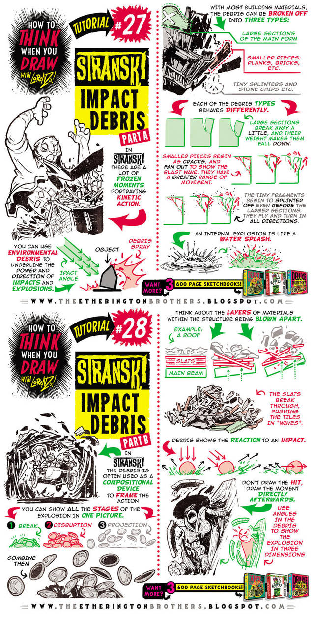 How to THINK when you draw IMPACT DEBRIS tutorial by STUDIOBLINKTWICE