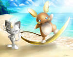 Meowth and Raichu Alola! by MistressAinley