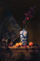 blue n wht vase w oranges by David-McCamant