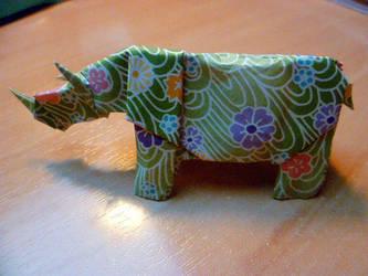 Rhinoceros in Origami by Kaorikiki