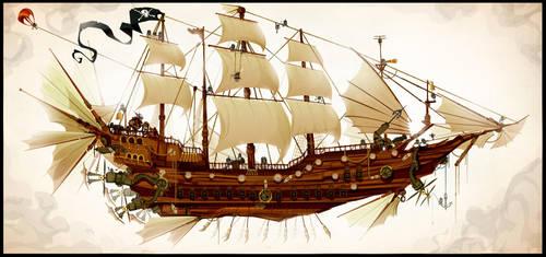 The Clockwork Pirateship by ChasingArtwork