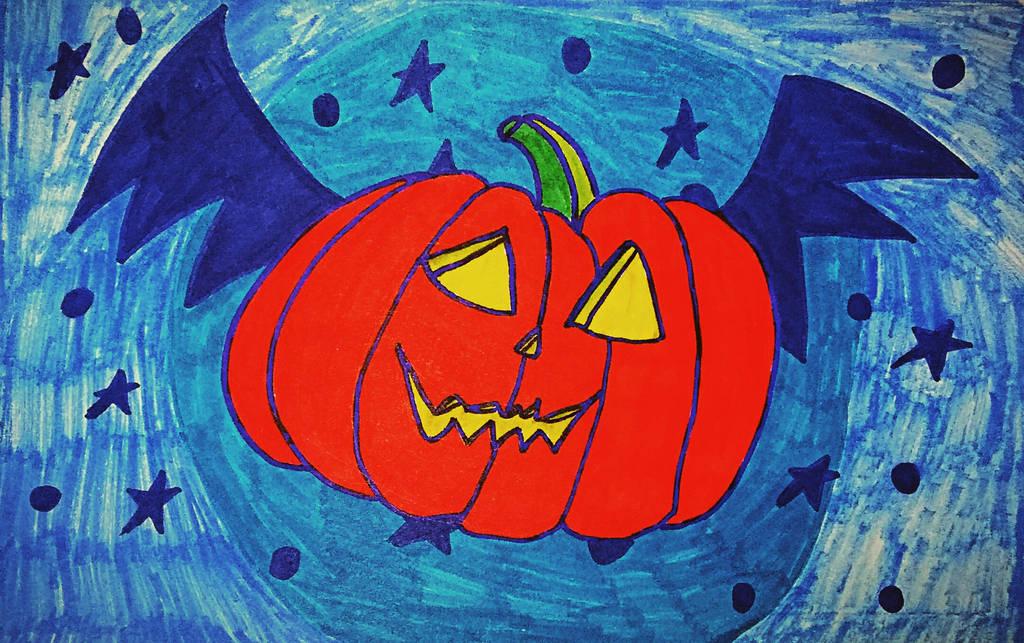Inktober #11 Pumpkin Bat by IamFailiusBLUscout