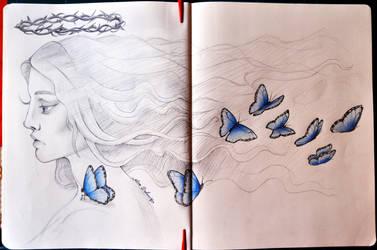 Morpho Azul - Sketch by Alice-Delacroix
