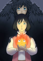 Howl's Moving Castle - Howl and Calcifer by Bruhowori
