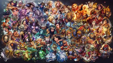 SMITE - All Gods Wallpaper (with Fafnir) by Getsukeii