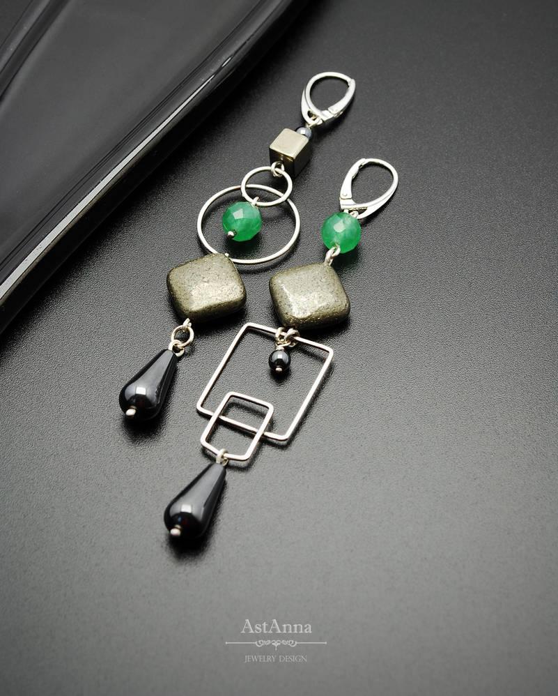 Asymmetric geometric long earrings by AstannaJewelry