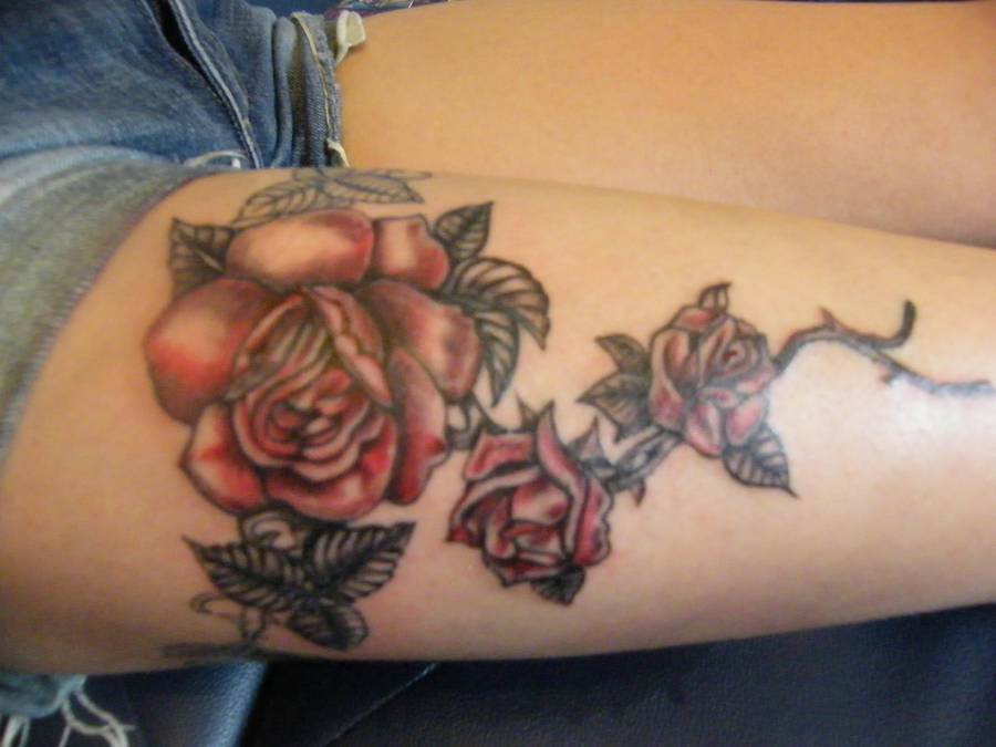 Black And Red Rose Tattoo By Lozzrc On Deviantart