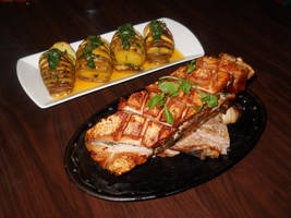 Roast Belly of Pork w/ Buttered Sweet Potatoes by Chaos217