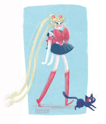 Silly Sailor Moon and Luna by KassandraHeller