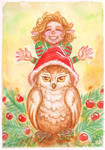 Christmas pixie and owl by MorganeDeMatons