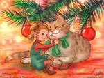 Christmas pixie and cat by MorganeDeMatons