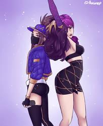 Kda Akali and Evelynn by Ronimep