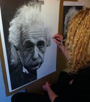 Stage Drawing Albert Einstein by Samantha Messias by SamanthaMessias