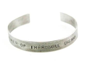 Dreamer of Improbable Dreams Stamped Bracelet by GeekeryMade