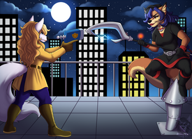 Commission: Roof Top Chase by Blitzy-Arts