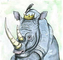 Rhino and  The Little Bird. by winduphearts
